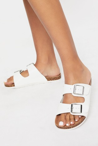 Lipsy White Buckle Strap Footbed Flat Sandal
