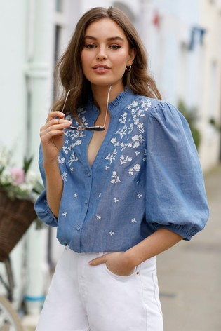 Love & Roses Blue embroidery Frill Neck Blouse