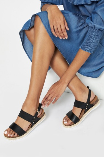 Lipsy Black Elastic Espadrille Footbed Sandal
