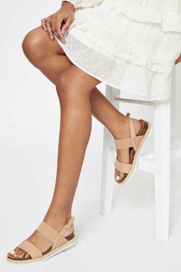 Lipsy Nude Pink Elastic Espadrille Footbed Sandal