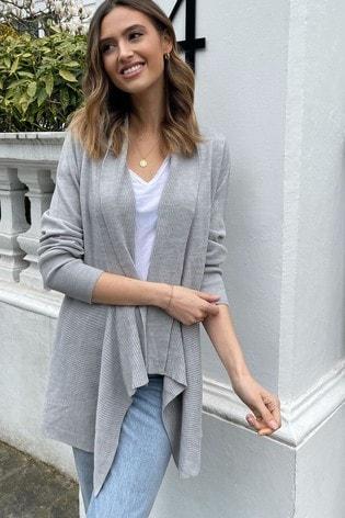 Lipsy Grey Knitted Waterfall Cardigan