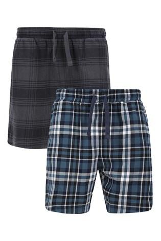 Threadbare Navy and Black 2 Pack Multi Check Jex Cotton Pyjama Shorts