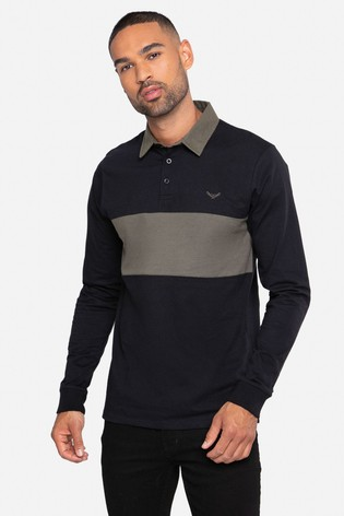 Threadbare Black Cotton Rugby Shirt