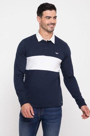 Threadbare Navy Cotton Rugby Shirt