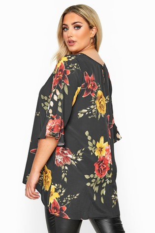 Yours Curve London Floral Flute Sleeve Tunic