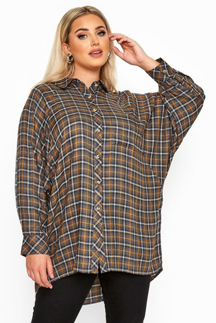 Yours Limited Collection Check Oversized Batwing Sleeve Shirt