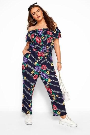 Yours Navy Curve Floral Chevron Print Bardot Crinkle Jumpsuit