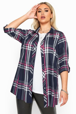 Yours Navy Curve Check Metallic Pleat Shirt