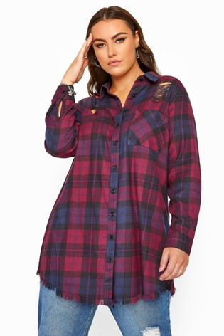 Yours Purple Curve Distressed Check Shirt