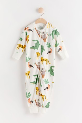 Lindex White Jungle Zip Sleepsuit (Baby)