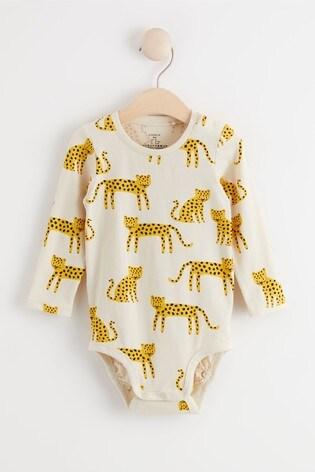 Lindex Cream Baby Long Sleeved Bodysuit