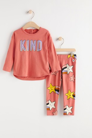 Lindex Peach Baby Long Sleeved Top With Leggings Set