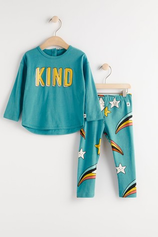 Lindex Blue Baby Long Sleeved Top With Leggings Set