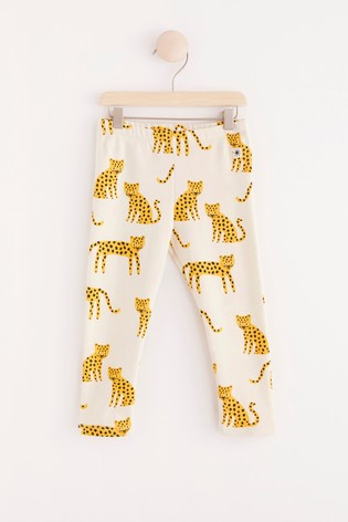 Lindex White Cheetah Baby Leggings