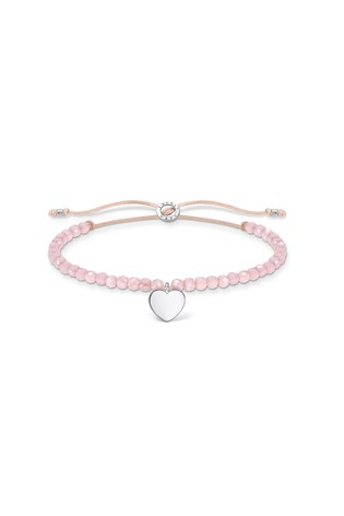 Thomas Sabo Pink Beaded Draw-String Bracelet With Heart Charm