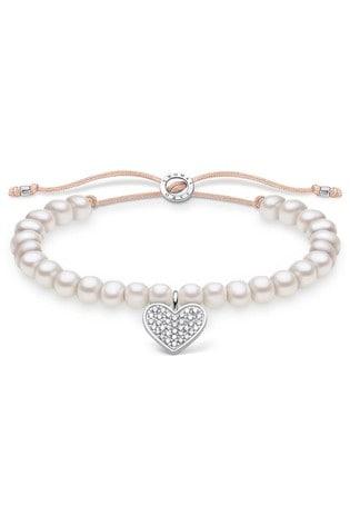 Thomas Sabo White Freshwater Pearl Draw String Bracelet With Heart Charm
