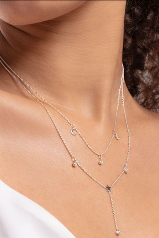 Thomas Sabo Silver Double Chain Moon and Star Necklace