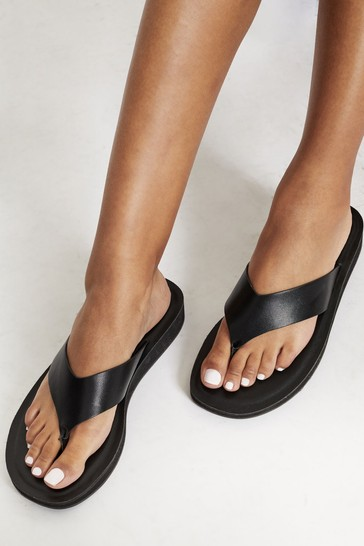 Lipsy Black Toe Thong flatform Wedge Sandal
