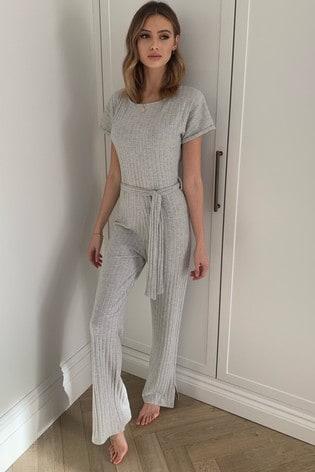 Lipsy Grey Lounge Cosy Rib Wide Leg Jumpsuit