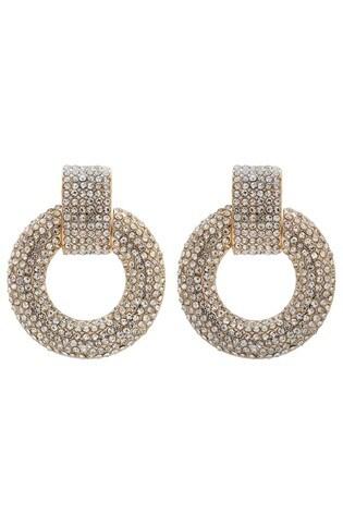 Lipsy Jewellery Gold Plated Crystal Door Knocker Earring