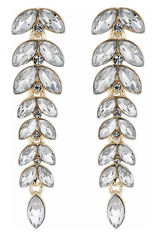 Lipsy Jewellery Gold Plated Crystal Leaf Drop Earring