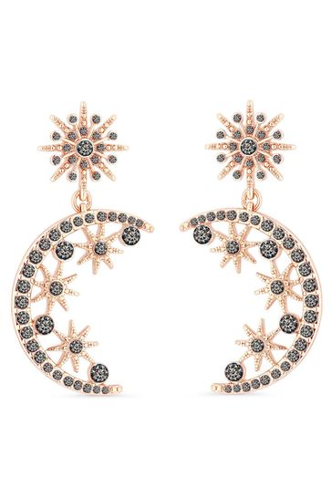 Lipsy Jewellery Rose Gold Plated Black Crystal Moon Cresent Drop Earring