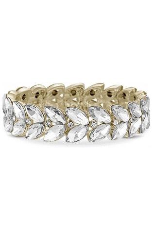 Lipsy Jewellery Gold Plated Crystal Leaf Stretch Bracelet