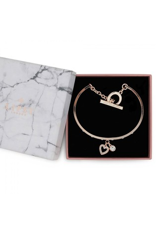 Lipsy Jewellery Rose Gold Plated Crystal T Bar Heart Charm Bracelet