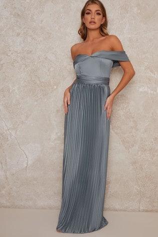 Chi Chi London Lauren Pleated Maxi Dress