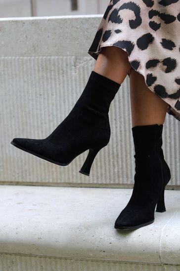 Linzi Black Square Toe Heeled Sock Boot
