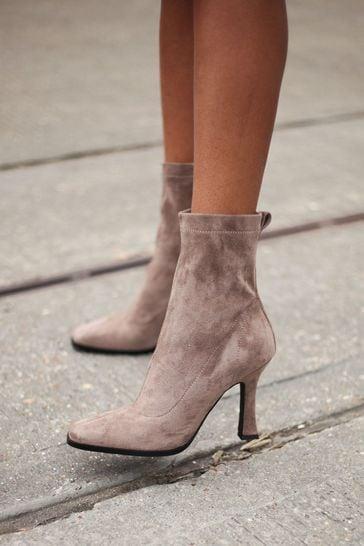Linzi Mocha Square Toe Heeled Sock Boot