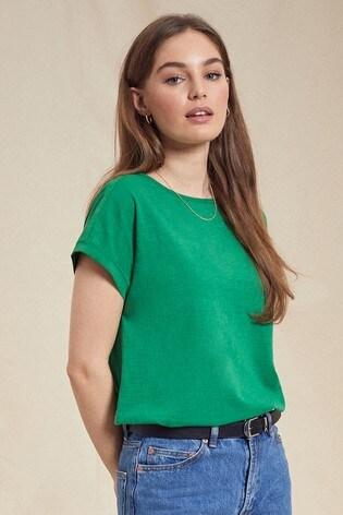 Love & Roses Green Roll Sleeve TShirt