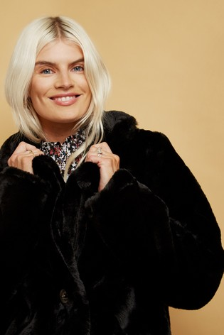 Little Mistress Black Beckton Oversized Teddy Coat