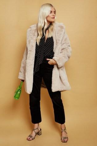 Little Mistress Neutral Beckton Oversized Teddy Coat