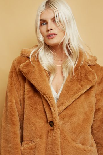 Little Mistress Camel Beckton Oversized Teddy Coat