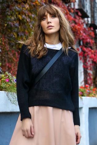 Little Mistress Black Batwing Knit Jumper