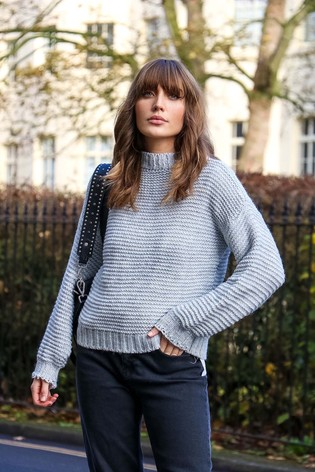 Little Mistress Grey Chunky Cable Knit Jumper