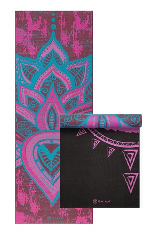 Gaiam Pink 6mm Yoga Mat Tribal Wisdom