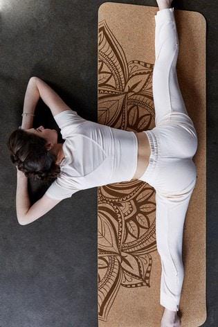 Gaiam Brown 5mm Yoga Mat Cork Mandala