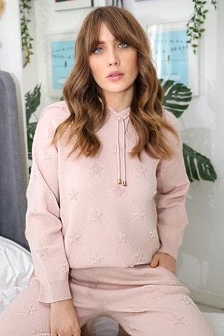 Love & Roses Blush Star Embossed Knitted Hoodie