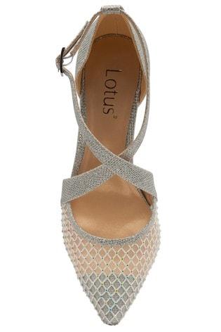 Lotus Footwear Silver Occasion Cross Strap Closed Court Heel