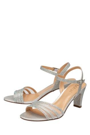 Lotus Footwear Silver Occasion Mesh/Diamante Detail Sandal
