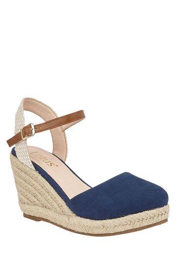 Lotus Footwear Navy Espadrille Wedge Heeled Sandal