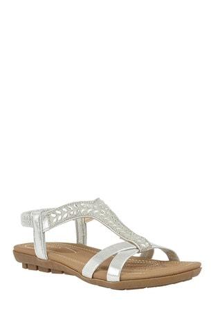 Lotus Footwear Silver DIAMANTE TRIM SANDAL
