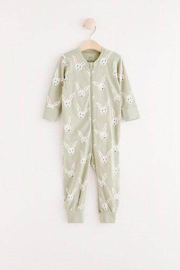 Lindex Baby Green Zip Sleepsuit