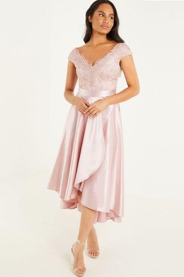 Quiz Pink Lace Bardot Dip Hem Dress
