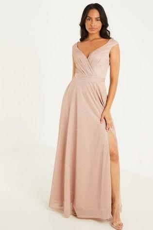 Quiz Champagne Glitter Wrap Front Split Maxi Dress