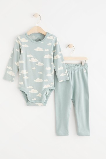Lindex Cloud Print Baby Long Sleeved Bodysuit with Leggings Set
