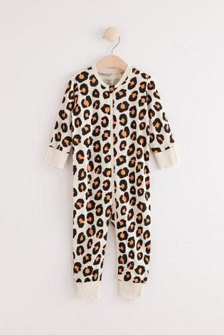 Lindex Baby Leopard Zip Sleepsuit