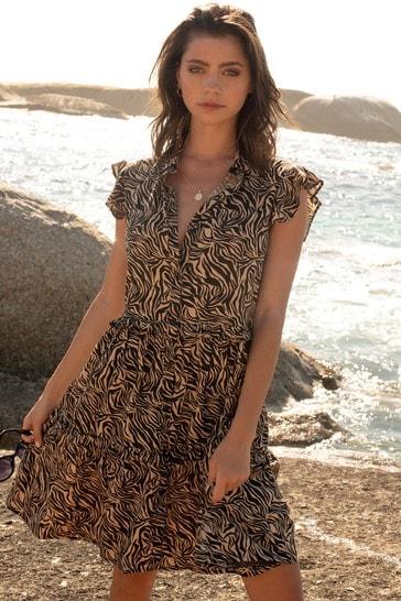 Lipsy Monochrome Sleeveless Tiered Shirt Dress